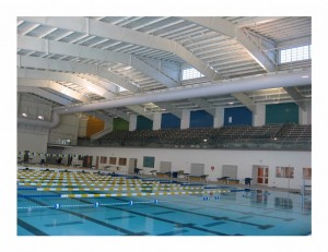 Competition pool and 750 seat grandstands at the Cumming Aquatic Center.
