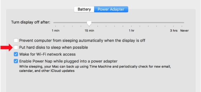 Dialog box showing the Energy Saving system preferences on macOS High Sierra